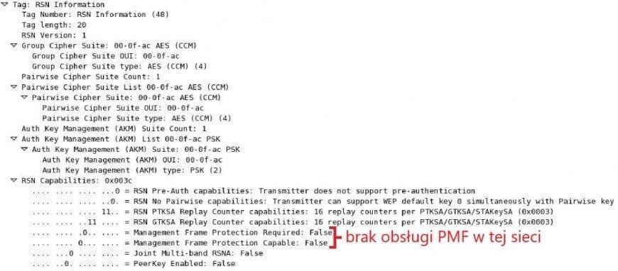 Ramka beacon informująca o braku obsługi PMF w tej sieci