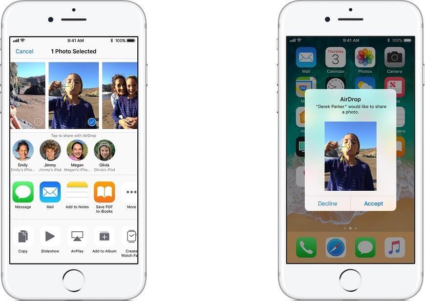 Przesyłanie zdjęć za pomocą AirDrop, źródło: apple.com