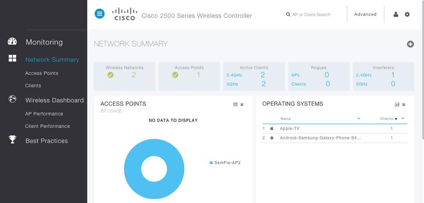 Prosty i przyjemny dla oka GUI kontrolera Cisco 2500, źródło: cisco.com