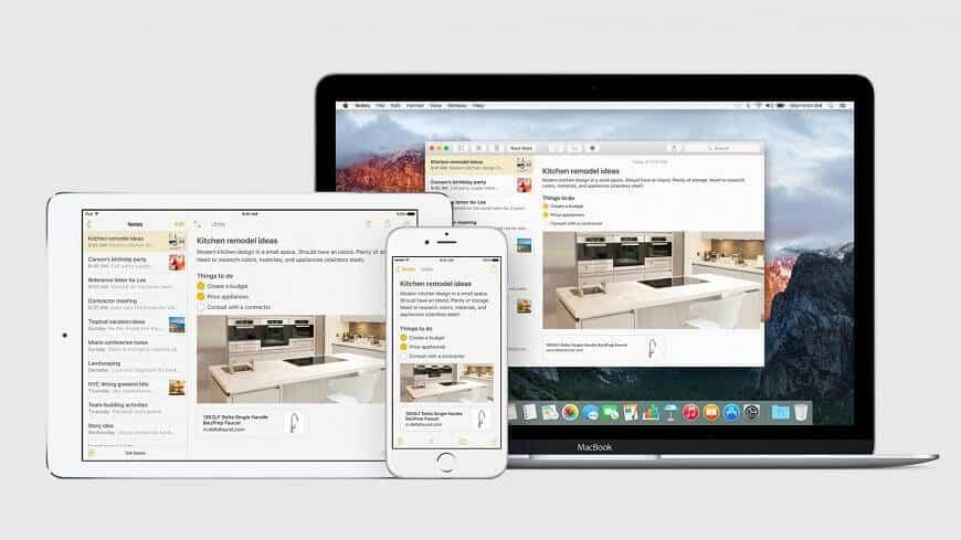 Ekosystem Apple na przykładzie aplikacji Notatki, źródło: actualapple.com