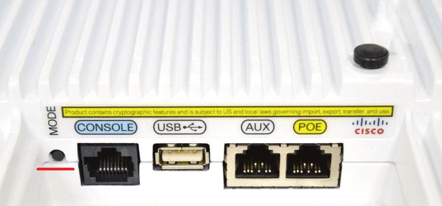 Tylna obudowa Access Pointa Cisco z zaznaczonym przyciskiem Mode, źródło: dedicatednetworksinc.com