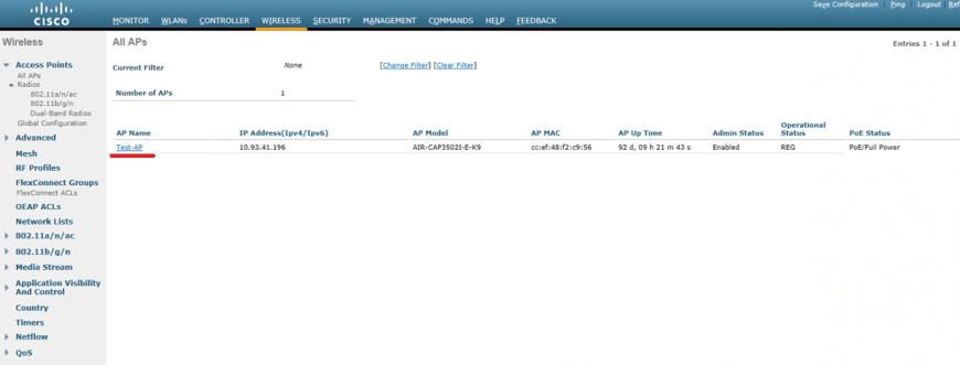 Zakładka Wireless na WLAN Controllerze Cisco