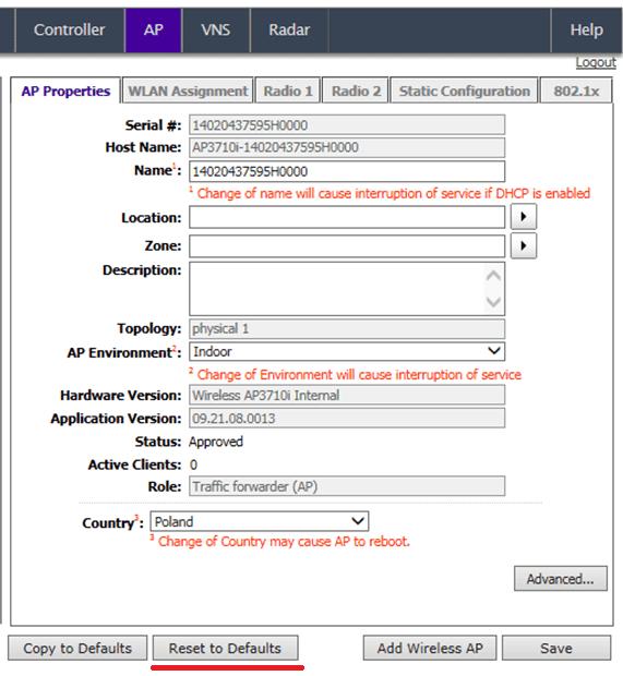 Widok konfiguracyjny wybranego Access Pointa z zaznaczonym przyciskiem Reset