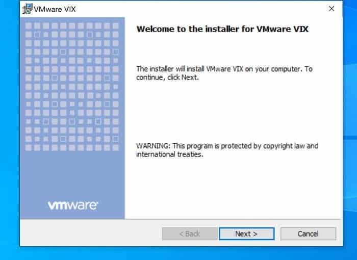 Okno powitalne instalatora VIX API