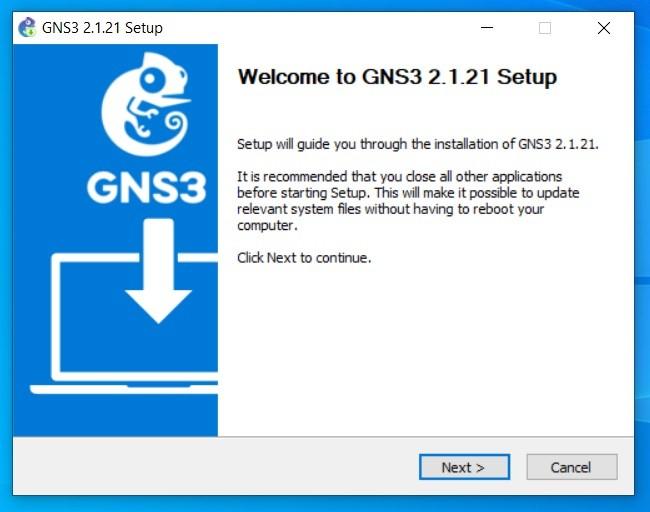 Okno powitalne instalatora GNS3