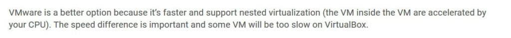 Zalecany jest wybór VMware