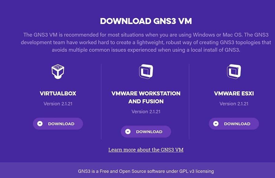 GNS3 VM dostępna jest na różnych platformach