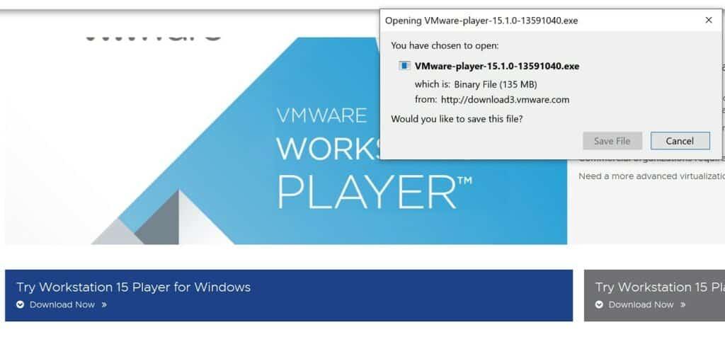 Pobieranie a następnie instalacja oprogramowania VMware