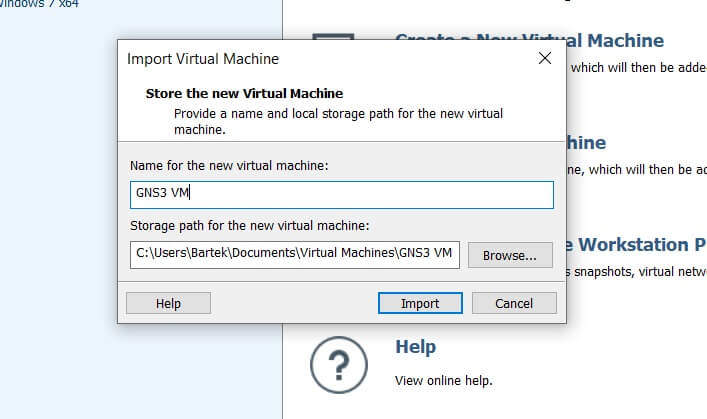 Import obrazu GNS3 VM do VMware